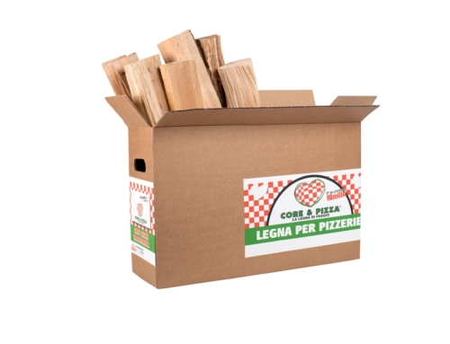 Legna in scatola e in rete per pizzerie